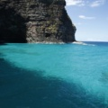 The Na Pali coast has beautiful turquoise colors in the water.