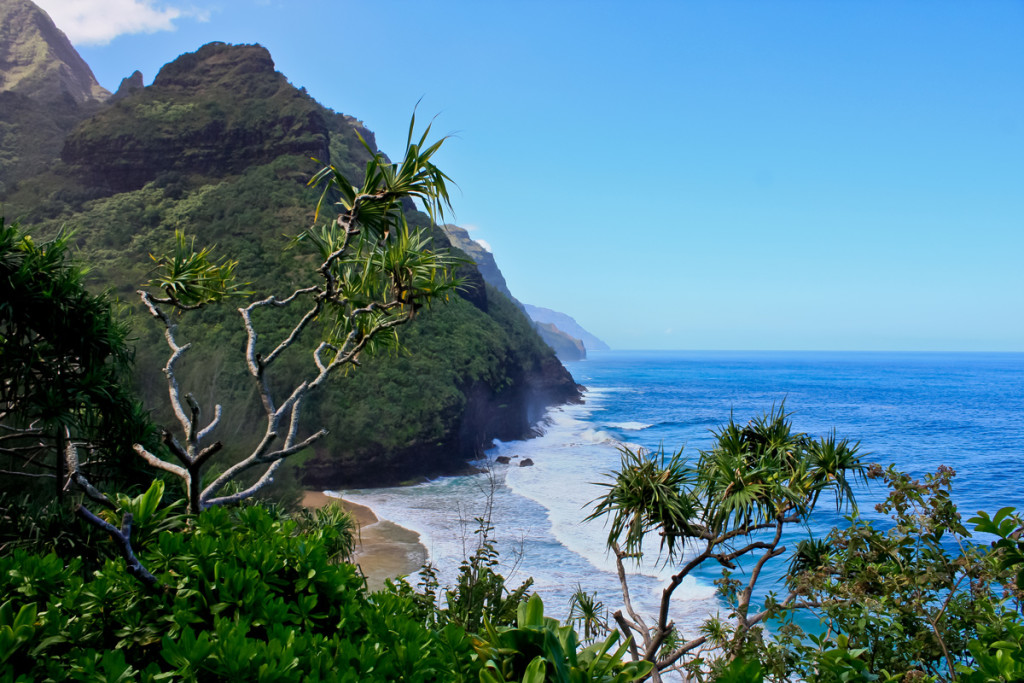 The view from the start of the Kalalau Trail on the way to Hanakapiai Beach.