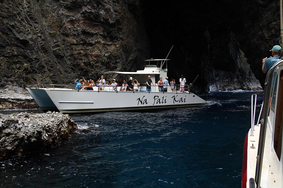 Our boats inside the open ceiling cave on the Na Pali Coast