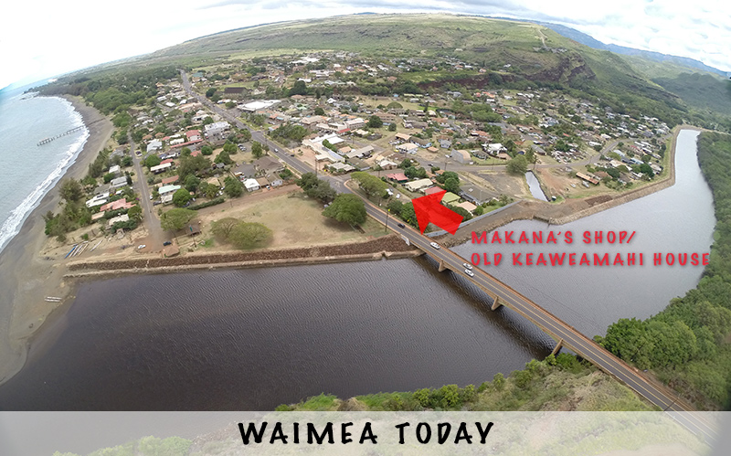an aerial view of waimea, kauai and the base of Makana Charters.