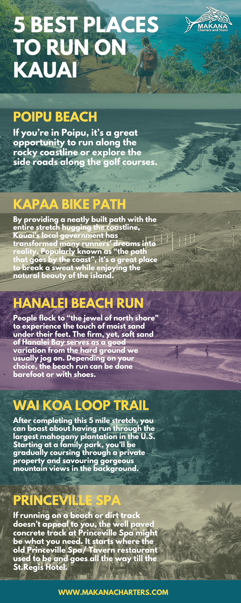 5 Best Places to Run in Kauai [Infographic]