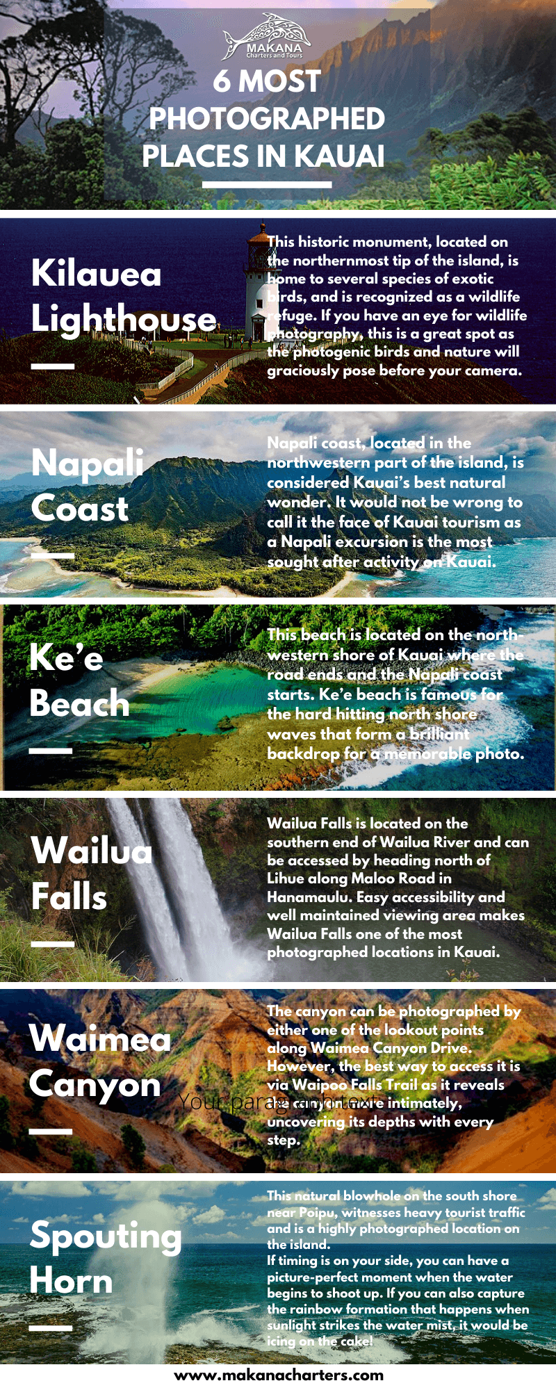 6 Most Photographed Locations in Kauai [Infographic]